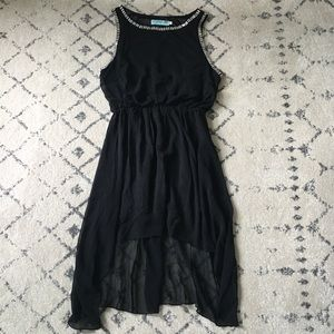 Francesca's high low hem black dress with jewels
